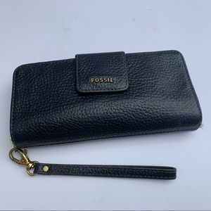 Fossil Wallet Bifold Pebbled Leather Wristlet